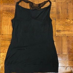 NWT the limited black long tank top with lace back